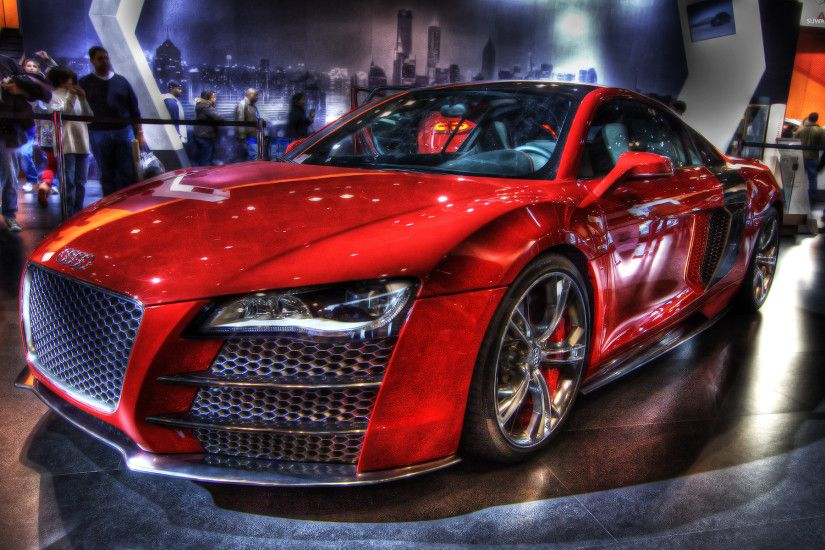 Red Audi R8 in a show room wallpaper. Red Audi R8 in a show room