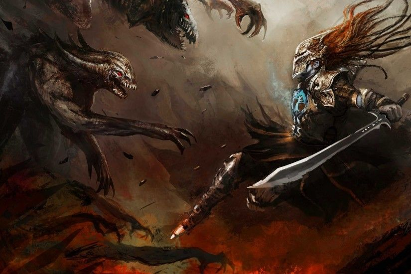 Armour Artwork Claws Creatures Dark Digital Art Fantasy Fight Fire Helmets  Hero Jaws Lava Long Hair Monsters Shrapnel Swords War Weapons