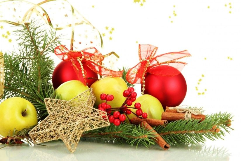 balls bulbs red bows star gold scenery toys christmas apples fruits green  cinnamon sticks holly berries