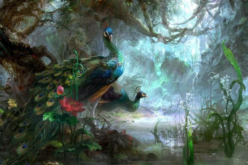 Peacocks Forest Fantasy Art Bird Beautiful FullHD Wallpaper