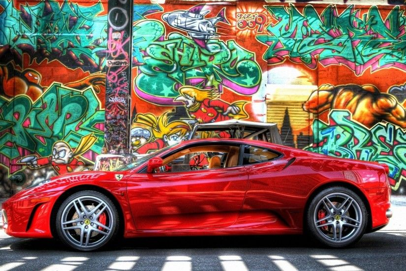 ferrari car graffiti wall hd wallpapers