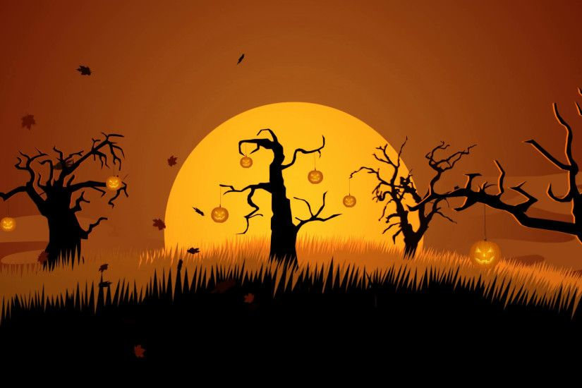 A Creepy Graveyard Halloween Background Scene. Spooky Trees Pumpkin