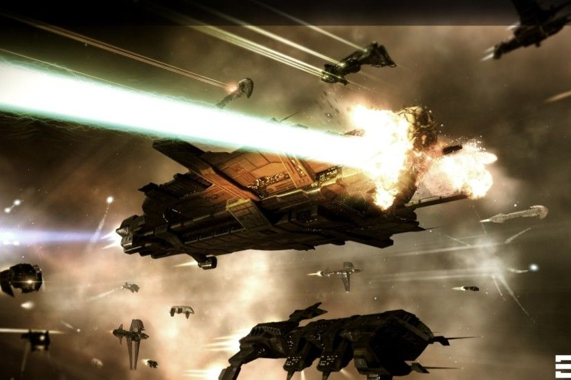 Preview wallpaper eve online, space, spaceships, light 2560x1080