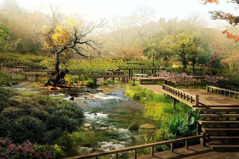 Garden : Zen Garden Photography Bridge Green Japan Lake Full Hd ~ HeimDecor