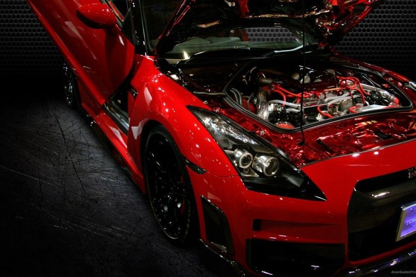 Red Nissan GT-R Bonnet Up for 1920x1080