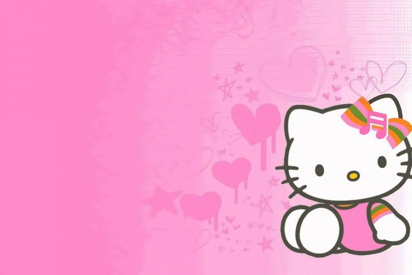 Cute pink wallpaper HD kitty image.