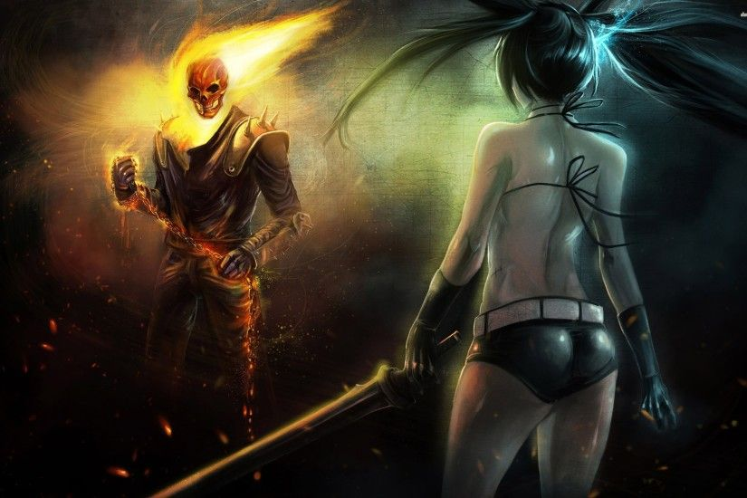Black Rock Shooter Against Ghost Rider