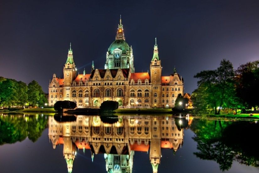 hannover town hall night travel attractions illumination germany ...