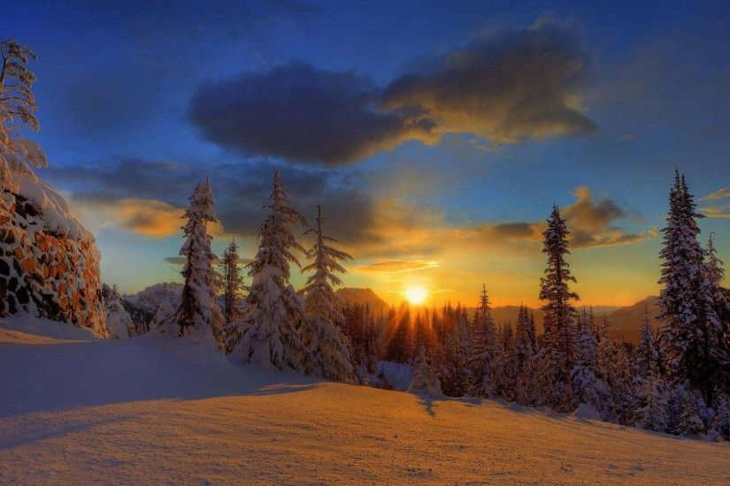 Snow painted by the sun HD Wallpaper. « »