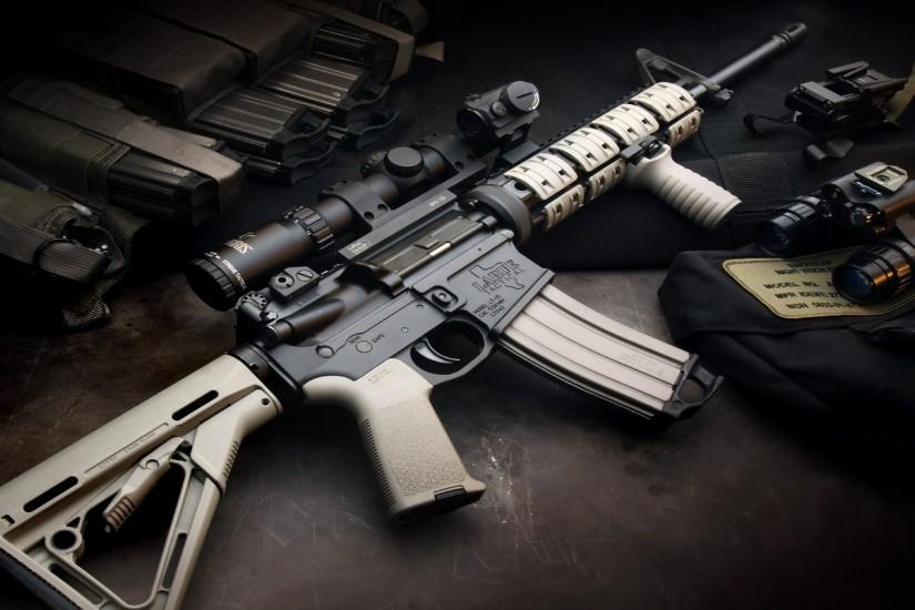 rifles scope weapons Magpul AR-15 LaRue Tactical Aimpoint STANAG 5.56x45mm  NATO - Wallpaper