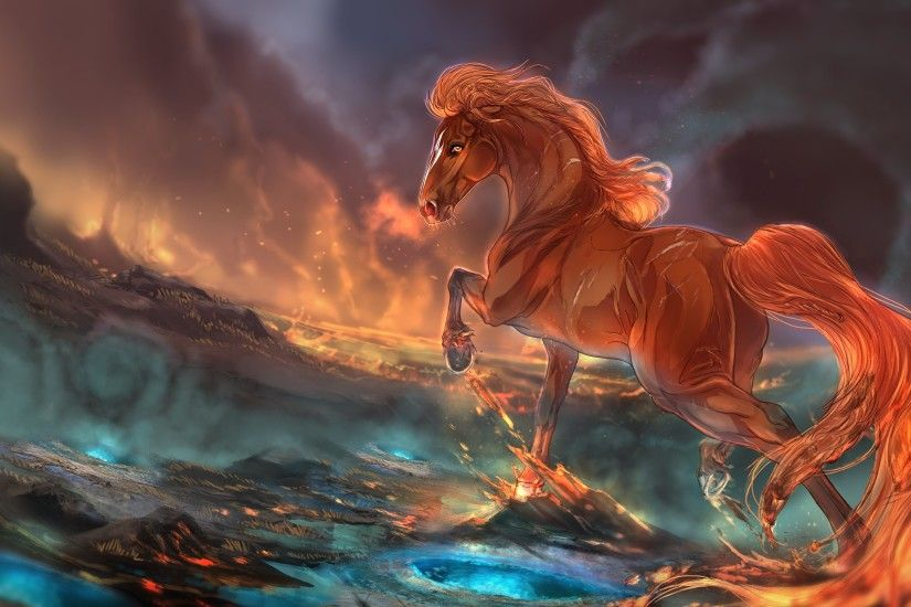 Wallpaper Horses Fantasy Flame Painting Art 3840x2160 Fire