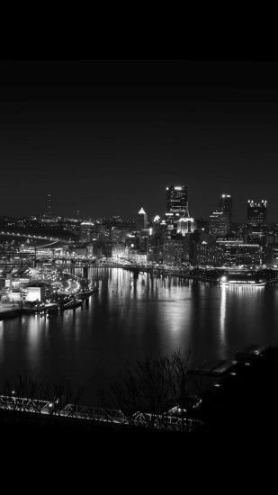 Pittsburgh City Dark Skyline At Night iPhone 6 Plus HD Wallpaper