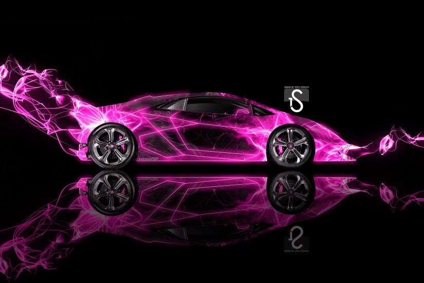 Attirant 1920x1080 Lamborghini Sesto Elemento Crystal City Car 2014 Pink Neon Design  By