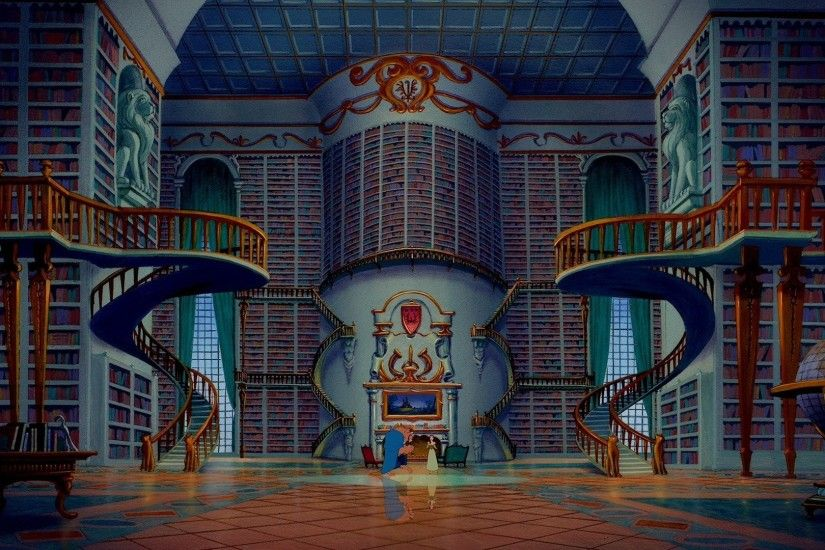 Huge Room Of Books Beauty And The Beast Hd - DOWNLOAD FREE HD WALLPAPERS
