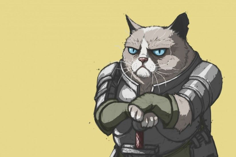 Preview wallpaper grumpy cat, armor, meme, popular 1920x1080