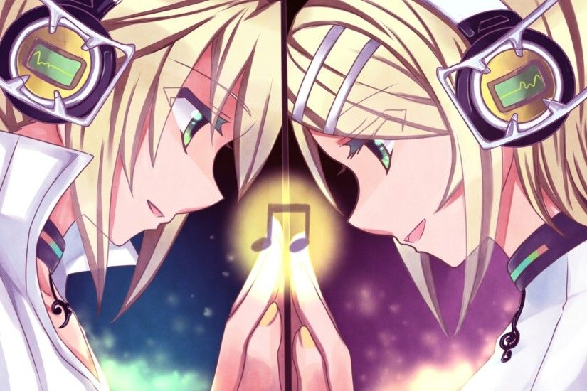 headphones blondes vocaloid kagamine rin kagamine len green eyes kagamine  twins 1920x1080 wallpap Art HD Wallpaper