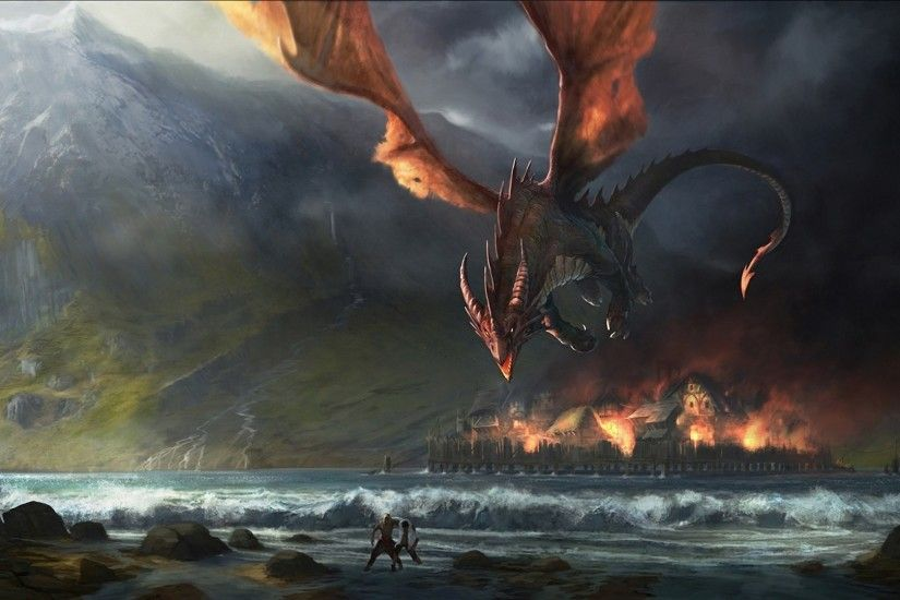 1920x1080 J. R. R. Tolkien, Fantasy Art, Dragon, The Hobbit, Smaug, The Lord