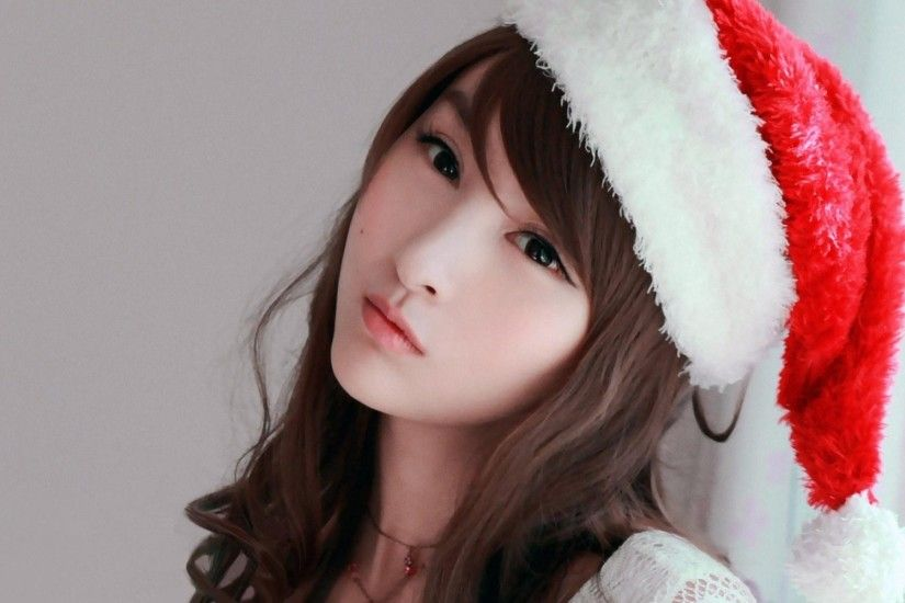 Cute Asian Girl Wallpaper inside Greatest top Style Cute Beautiful Asian  Girl Christmas Hat Hd Wallpaper