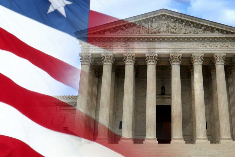 A patriotic background of a slow motion American flag composited over a  shot of the Supreme Court. Stock Video Footage - VideoBlocks