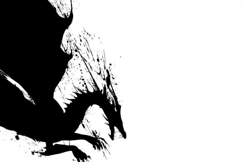 2d Dragon Black White Black White Dragon Wallpaper - WallpaperTube