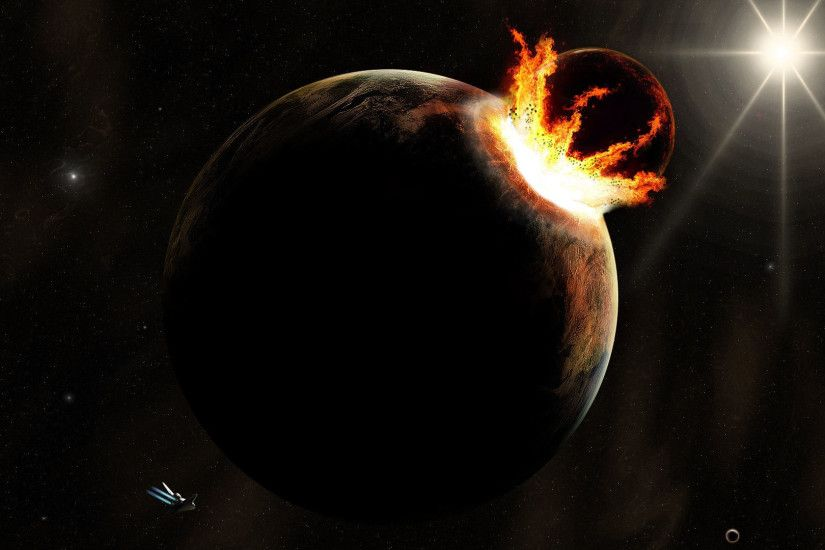 deep impact asteroid hit a planet wallpaper