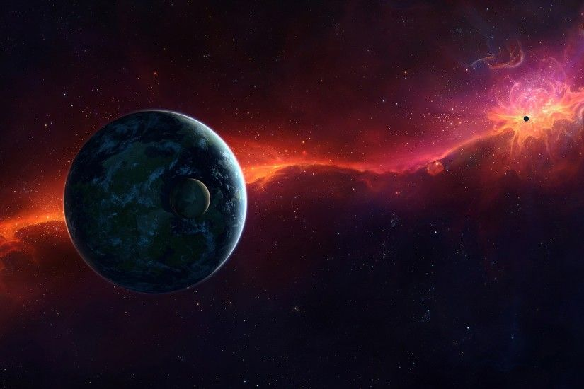 3840x2160 Wallpaper sci fi, space, red, planet