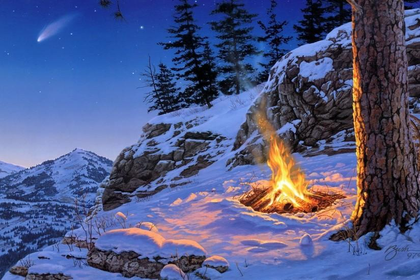 Description: The Wallpaper above is Winter campfire art Wallpaper in  Resolution 1920x1080. Choose your Resolution and Download Winter campfire  art Wallpaper