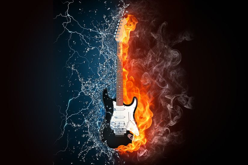 Red And Blue Fire Water Guitar Wallpaper Best