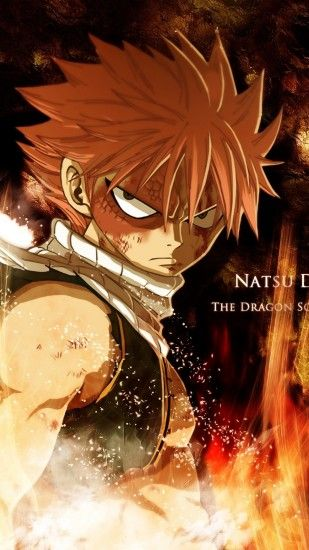 1440x2560 Wallpaper fairy tail, natsu dragneel, boy, look, fire