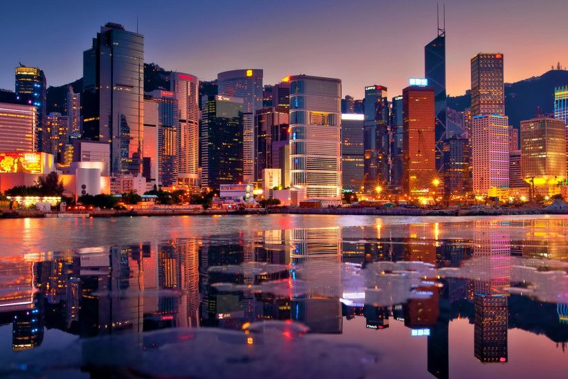 Hong kong buildings bay skyscrapers sunset hdr backgrounds 1920×1080
