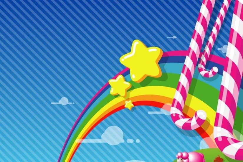 2048x1152 Wallpaper rainbow, candy, stars, sky