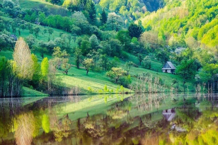 Mountain slope, trees, house, lake, water reflection, spring scenery  wallpaper 1920x1200