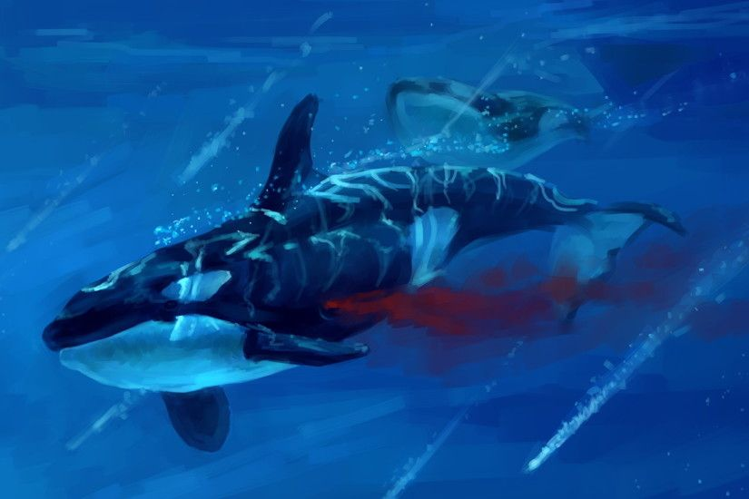Wallpaper Orca Underwater world Blood Animals Painting Art 1920x1080
