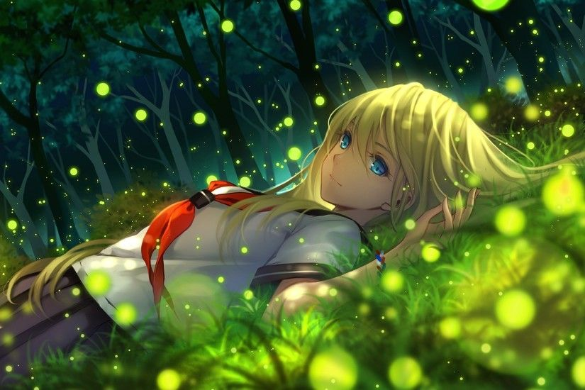 Cute Anime Girl Sleep Garden HD Wallpapers