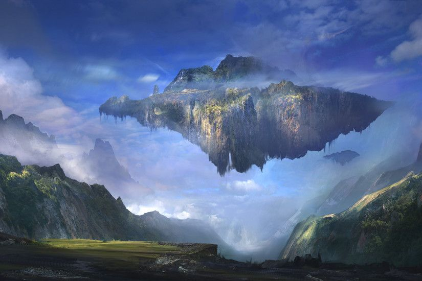 ... chains, Landscape, Tera Online, Digital Art, Anime, Waterfall ... Cool Floating  Island Mountain, Npc Village ...
