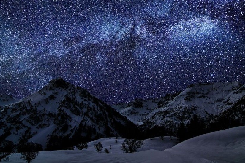 Milky Way Above The Mountains Wallpaper