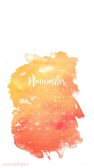 Orange Red Yellow Fall Colors Watercolor November calendar 2016 wallpaper  you can download for free on