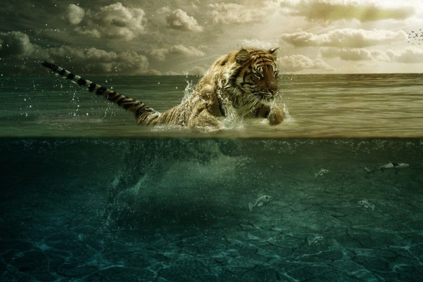 Preview wallpaper tiger, jump, sea, underwater, hunting 2560x1440