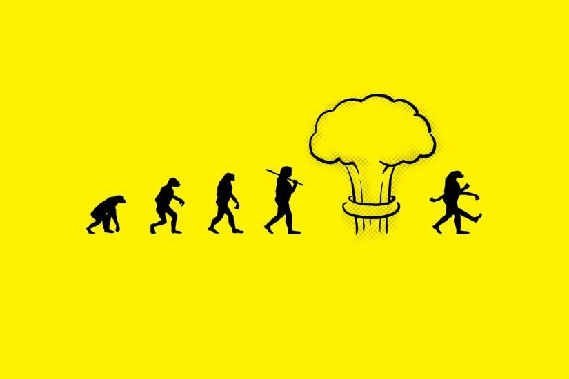 Minimalistic funny evolution nuclear explosions atomic bomb yellow  background nuke wallpaper | 1920x1200 | 8191 | WallpaperUP