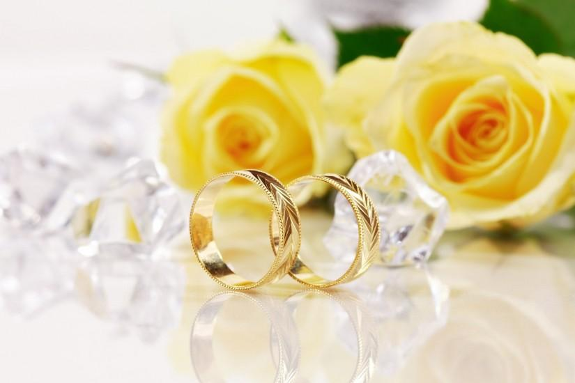 Wedding Ring With Flowers Background Designs: