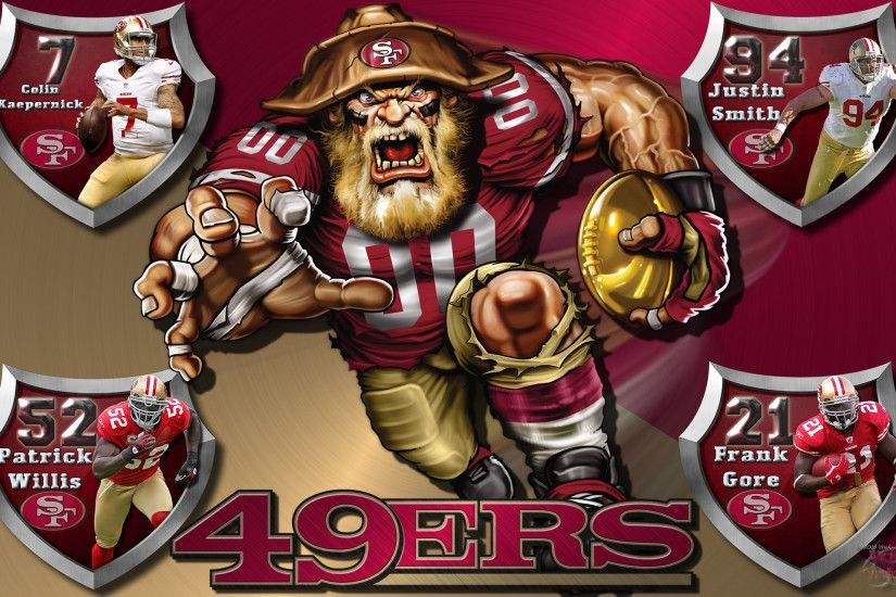 49ers Crazy Logo Shield Players Wallpaper.