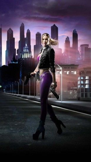 Preview wallpaper saints row, girl, road, city, night 1080x1920