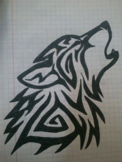 Tribal wolf tattoo drawing by LadyVlaew Tribal wolf tattoo drawing by  LadyVlaew