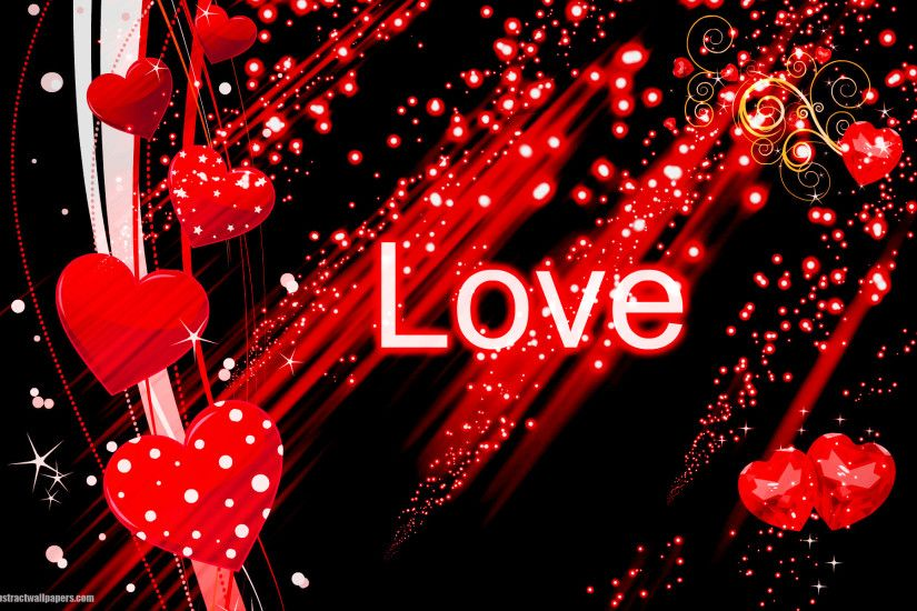 Black abstract wallpaper with red love hearts | HD Abstract Wallpapers