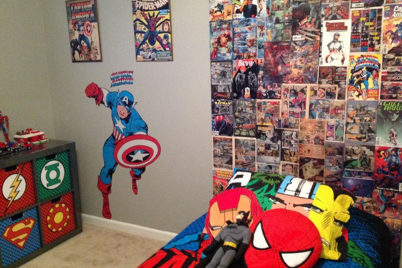2592x1936 My sons super hero bedroom, homemade backboard from comic books I  found at a