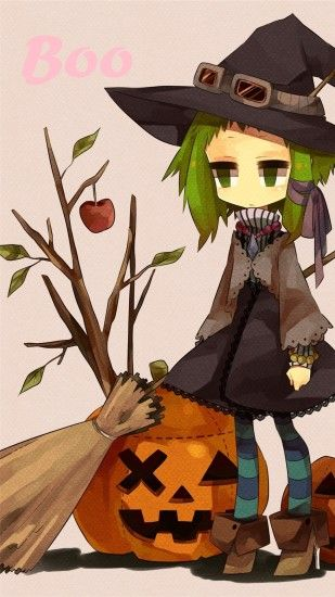 2014 Halloween BOO iPhone 6 plus wallpapers - girl, witch hat, broom,  pumpkin
