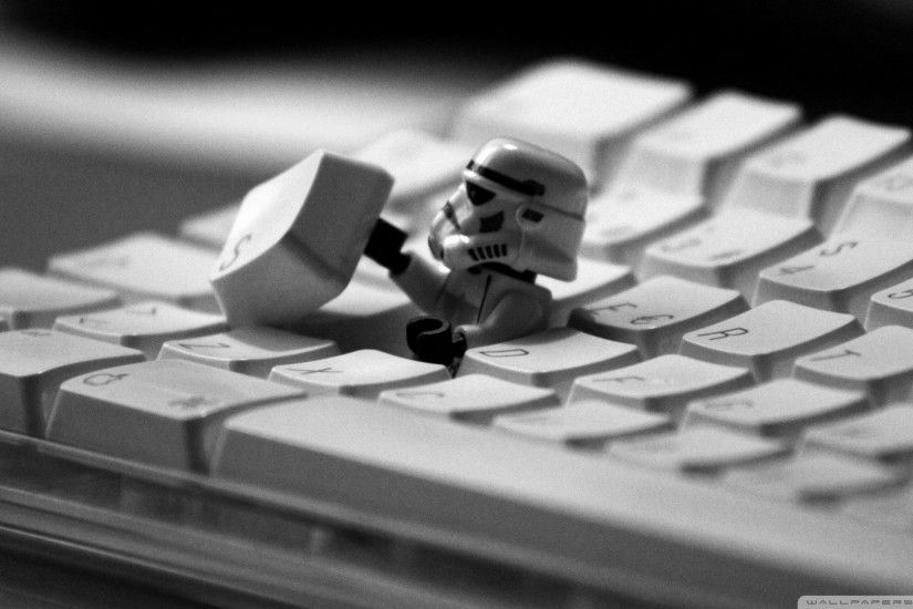 star wars lego imperial stormtrooper coming out of your keyboard