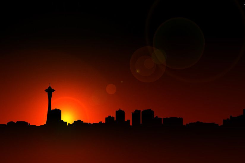 Seattle skyline at sunset wallpaper - 585730