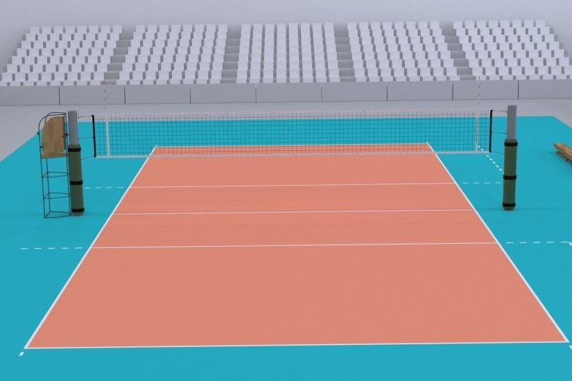 ... volleyball court higly detailed real size 3d model obj 3ds fbx blend  dae mtl 5 ...