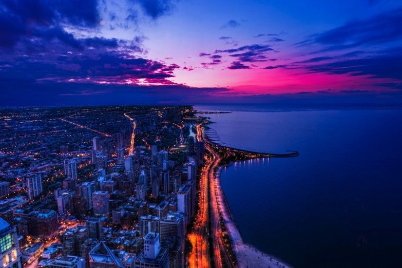 Chicago City Sunset Wallpaper